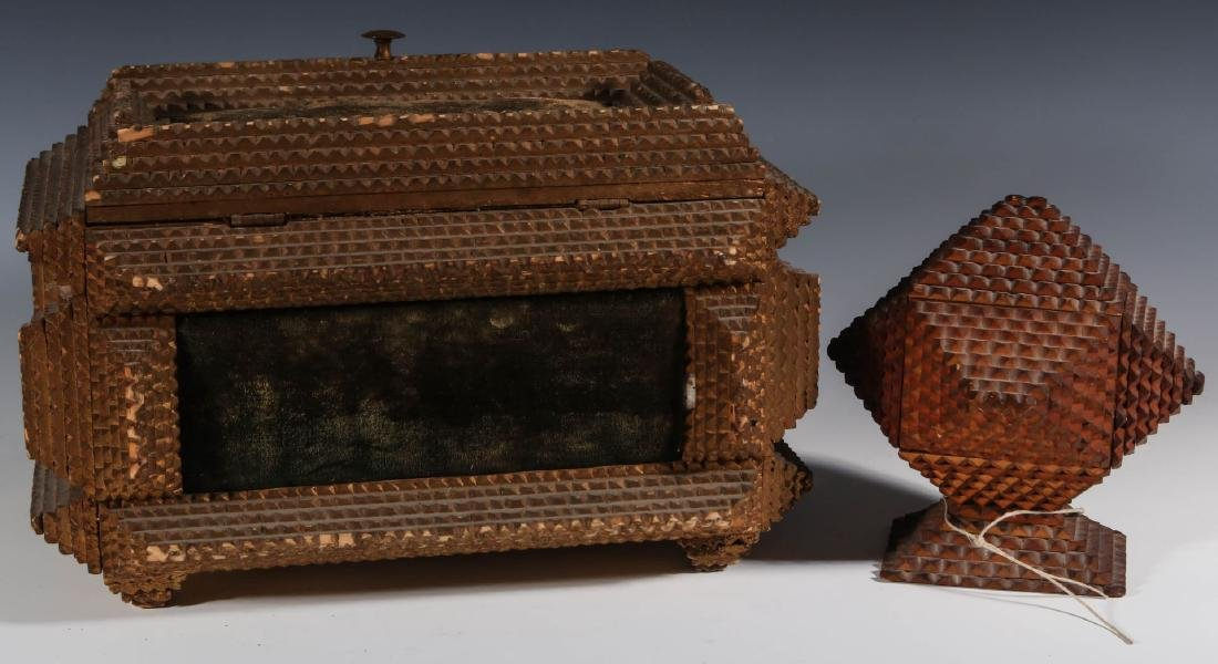 TWO EARLY 20TH CENTURY TRAMP ART BOXES - 3