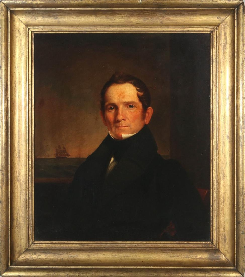 A GOOD 19TH C. AMERICAN SEA CAPTAIN O/C PORTRAIT - 2