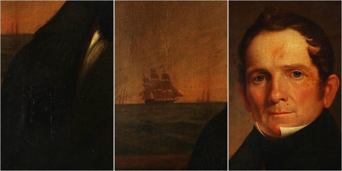 A GOOD 19TH C. AMERICAN SEA CAPTAIN O/C PORTRAIT - 8