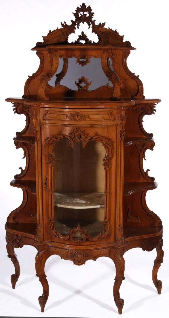 A LATE 19TH C. FRENCH ROCOCO ETAGERE WITH VITRINE