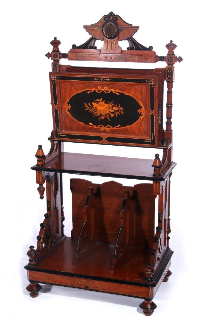 A HORNER QUALITY RENAISSANCE REVIVAL INLAID MUSIC STAND