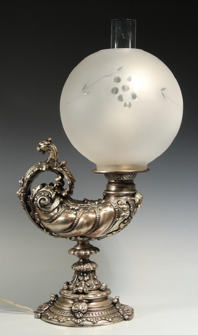 A CIRCA 1900 SILVERED GRIFFIN HARVARD LAMP - 6