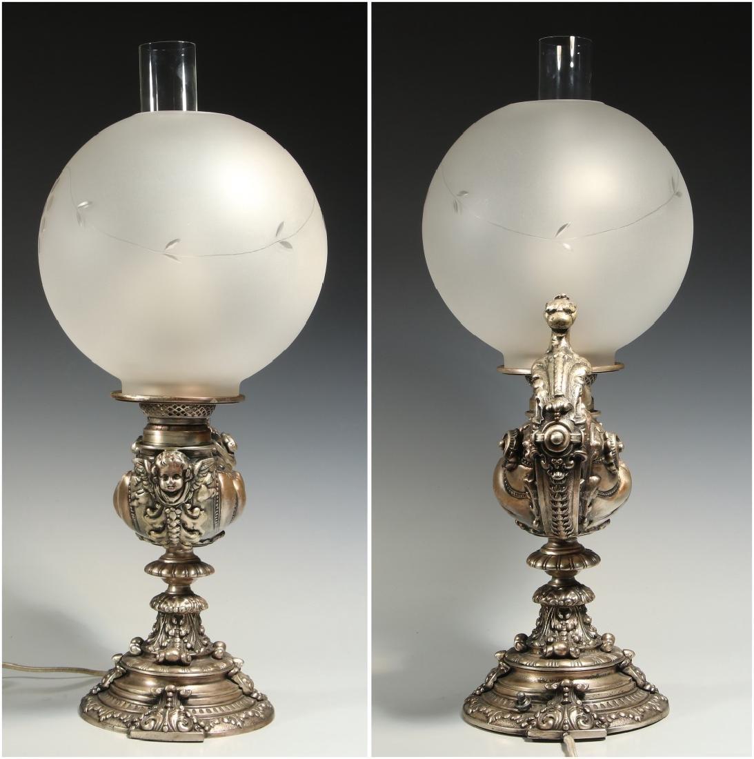 A CIRCA 1900 SILVERED GRIFFIN HARVARD LAMP - 8