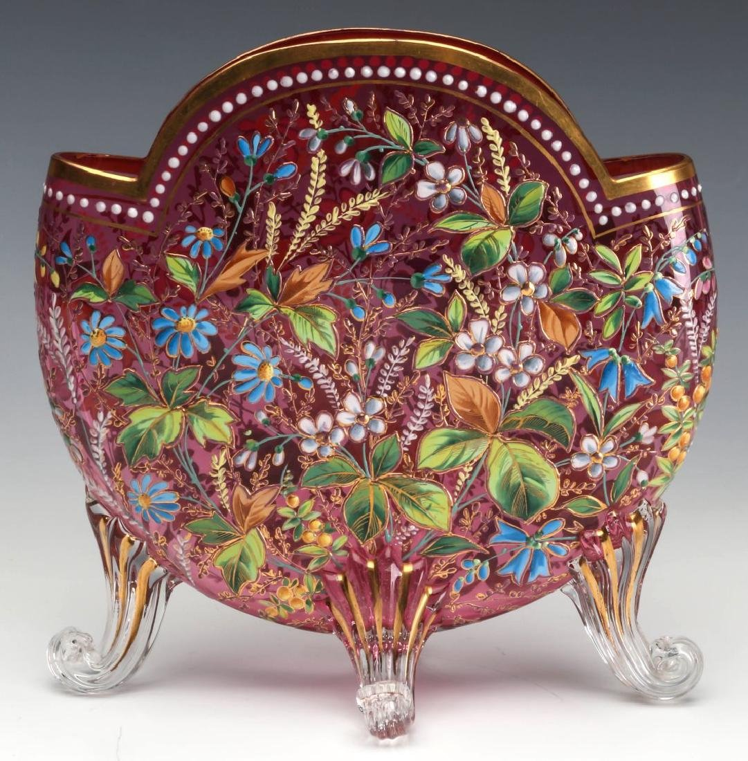 A GOOD MOSER 19TH C. ENAMELED CRANBERRY PILLOW VASE