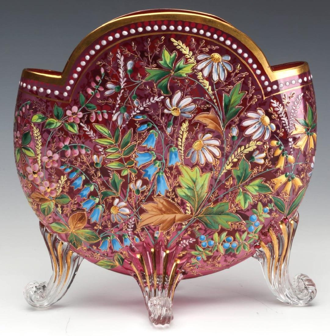 A GOOD MOSER 19TH C. ENAMELED CRANBERRY PILLOW VASE - 5