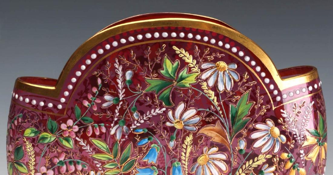 A GOOD MOSER 19TH C. ENAMELED CRANBERRY PILLOW VASE - 6