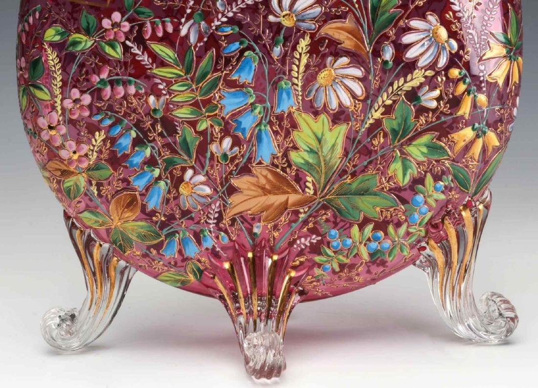 A GOOD MOSER 19TH C. ENAMELED CRANBERRY PILLOW VASE - 7