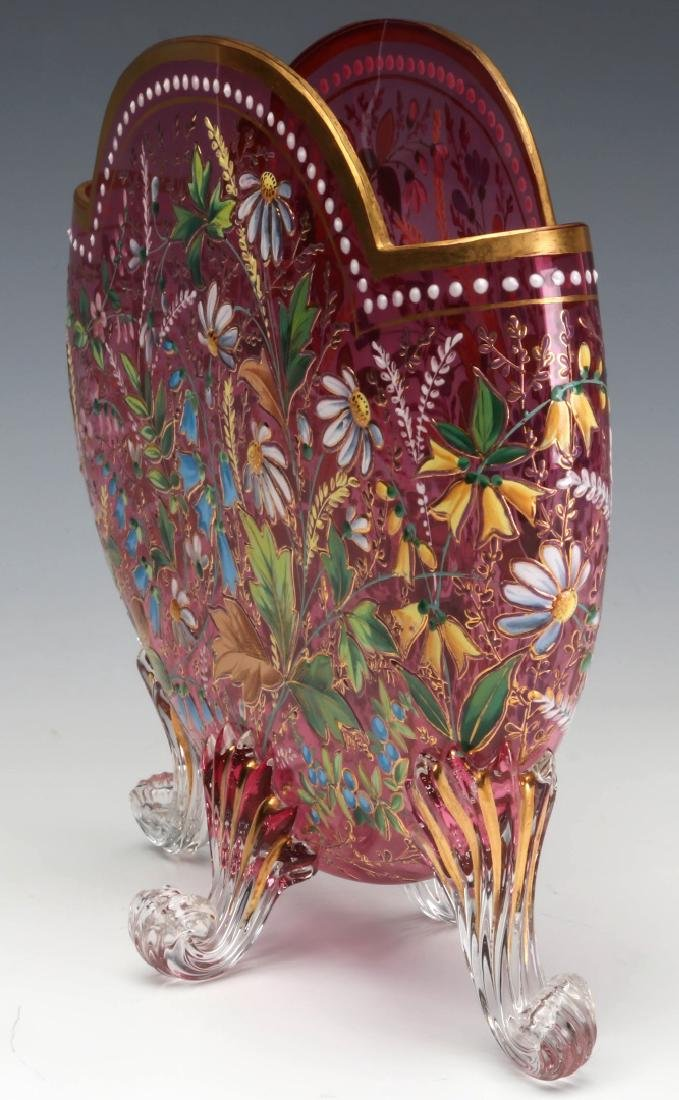 A GOOD MOSER 19TH C. ENAMELED CRANBERRY PILLOW VASE - 8