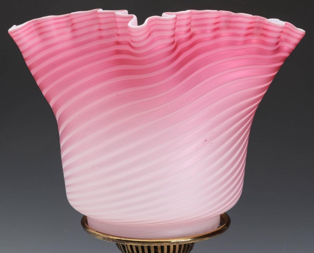 A FINE 19TH C. CRANBERRY SATIN AIR TRAP SWIRL LAMP - 2