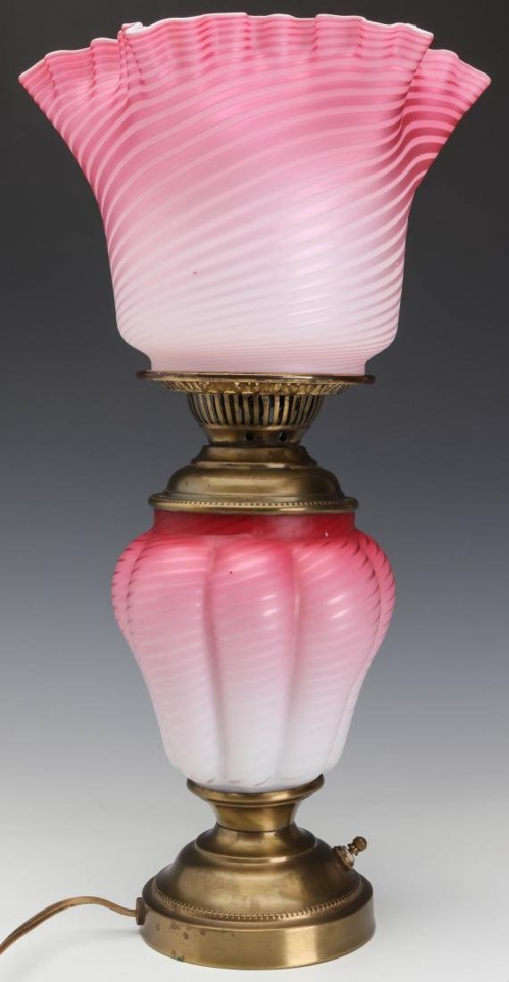 A FINE 19TH C. CRANBERRY SATIN AIR TRAP SWIRL LAMP - 8