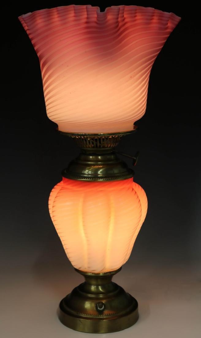A FINE 19TH C. CRANBERRY SATIN AIR TRAP SWIRL LAMP - 9