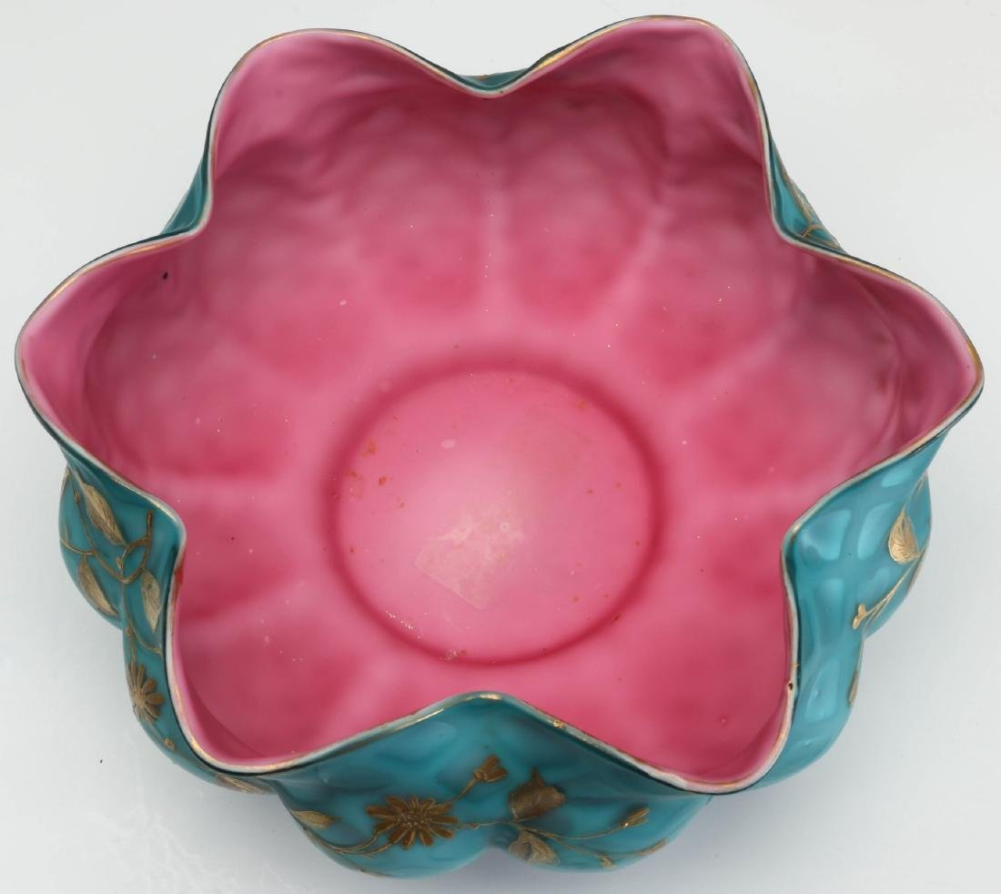 AN ENAMELED MOTHER OF PEARL BRIDE'S BOWL ATTR WEBB - 7