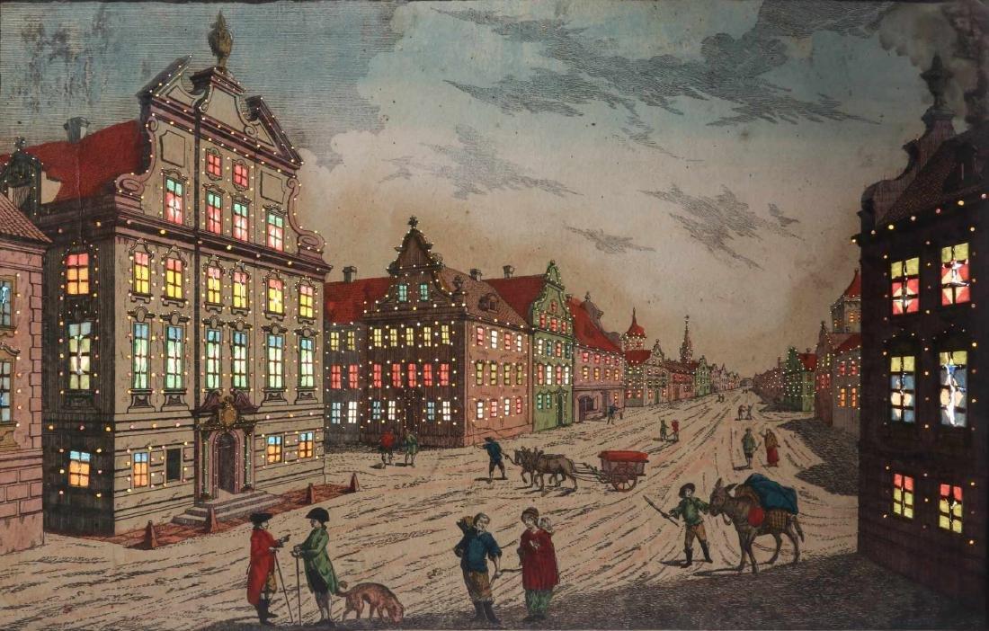 AN 18TH C VUE D'OPTIQUE CUT ENGRAVING OF BOSTON