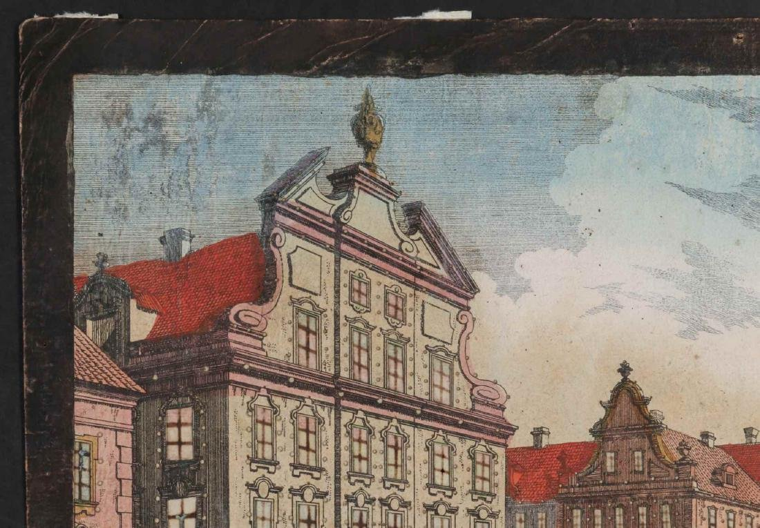 AN 18TH C VUE D'OPTIQUE CUT ENGRAVING OF BOSTON - 3