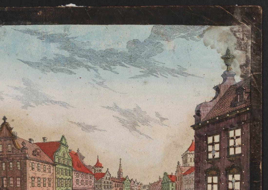 AN 18TH C VUE D'OPTIQUE CUT ENGRAVING OF BOSTON - 4