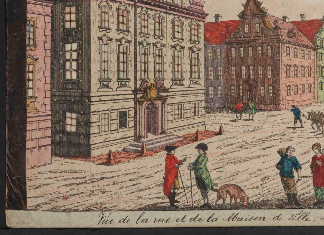 AN 18TH C VUE D'OPTIQUE CUT ENGRAVING OF BOSTON - 6