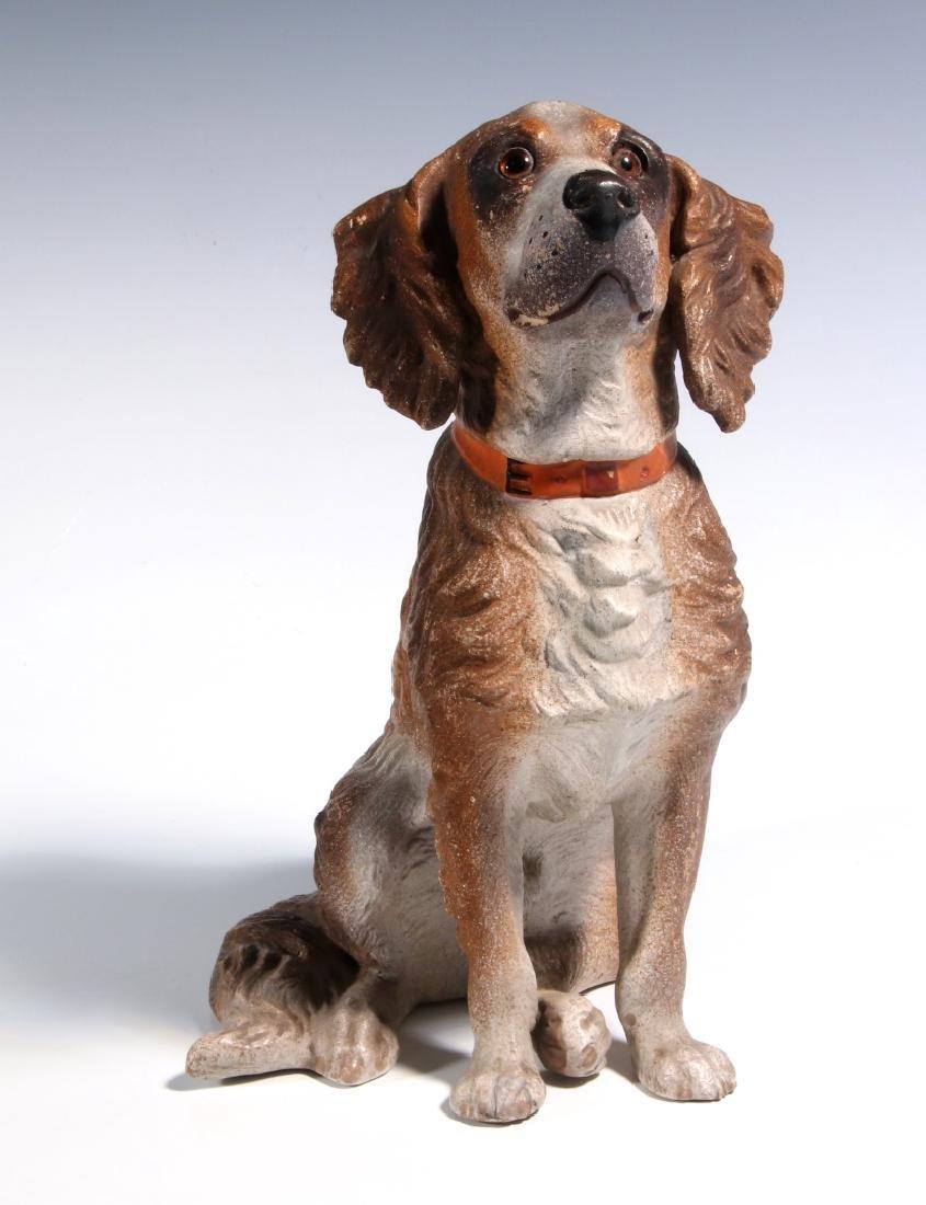 AN EXCEPTIONAL AUSTRIAN TERRA COTTA DOG C. 1900