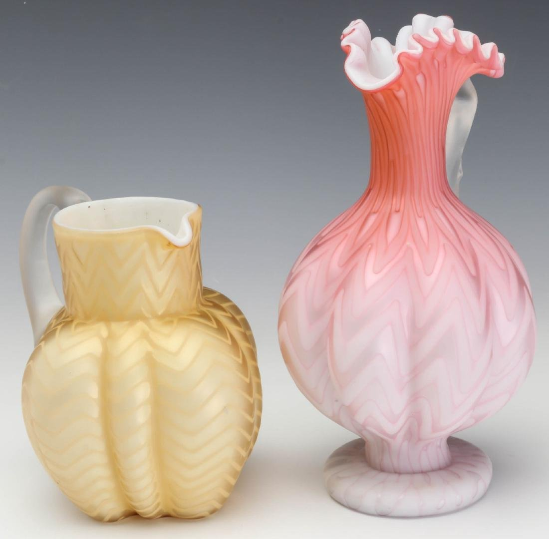 TWO UNUSUAL 19TH C. MOTHER OF PEARL GLASS WORKS
