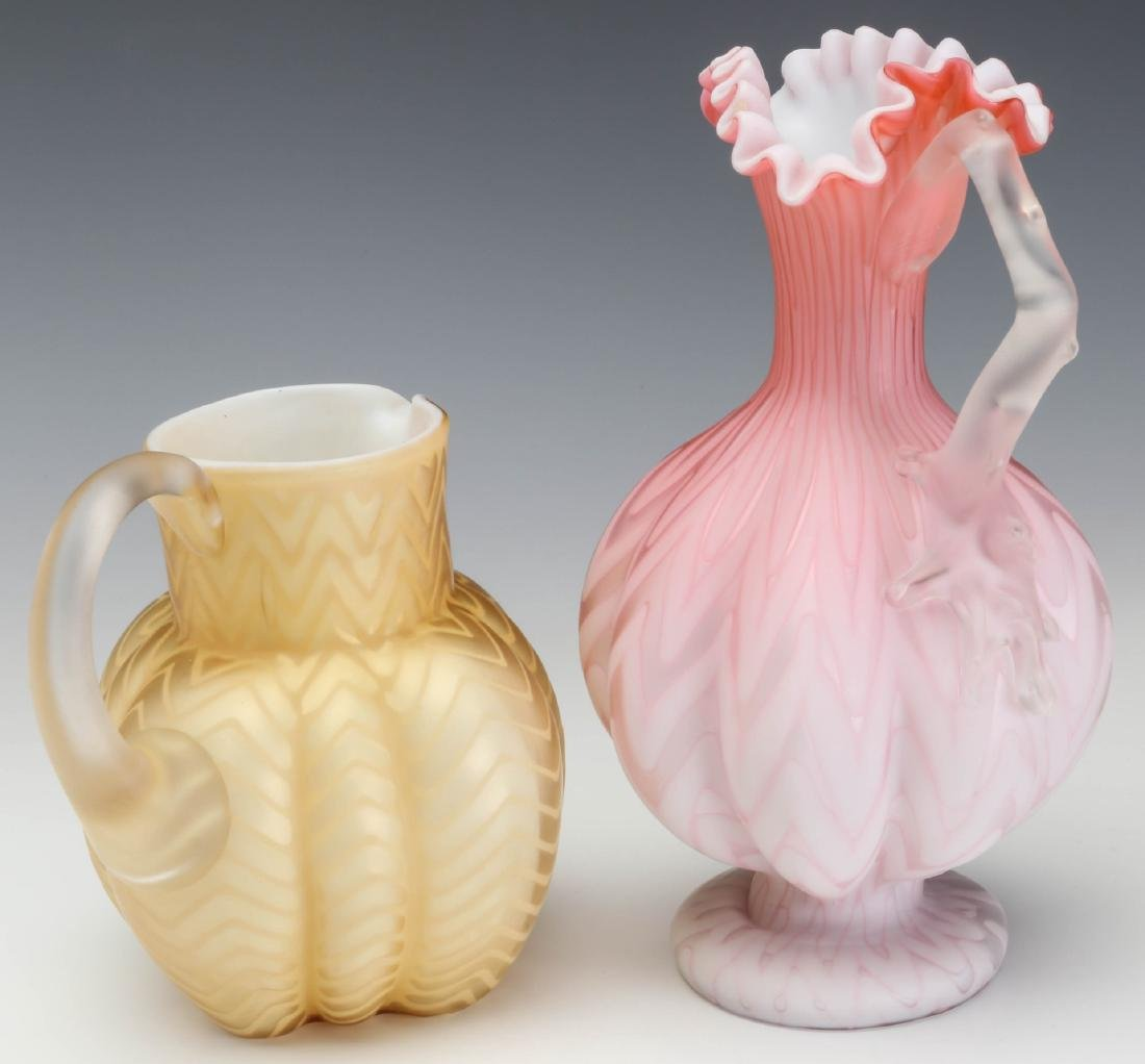 TWO UNUSUAL 19TH C. MOTHER OF PEARL GLASS WORKS - 8