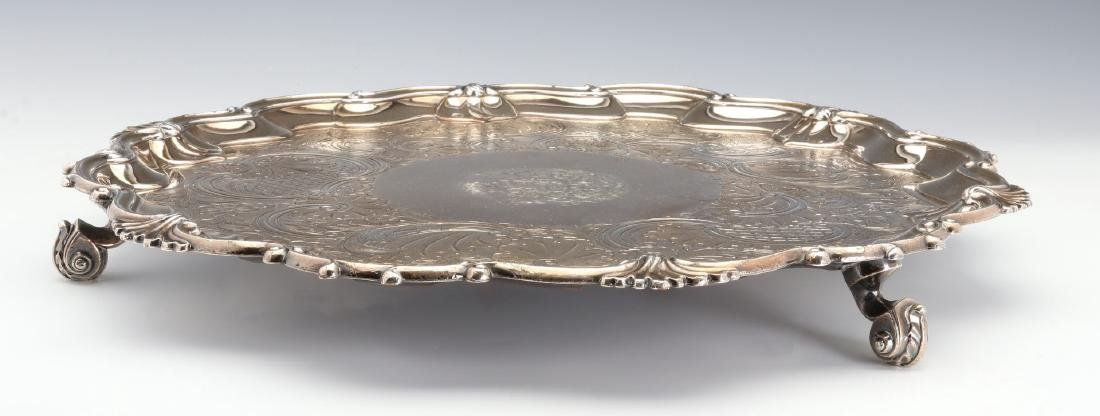 A NICE CIRCA 1800 OLD SHEFFIELD PLATE LARGE SALVER - 10