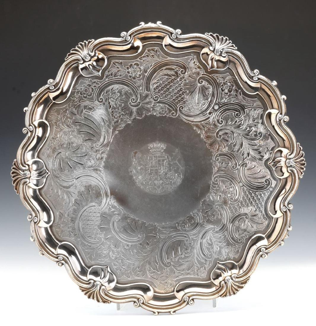 A NICE CIRCA 1800 OLD SHEFFIELD PLATE LARGE SALVER