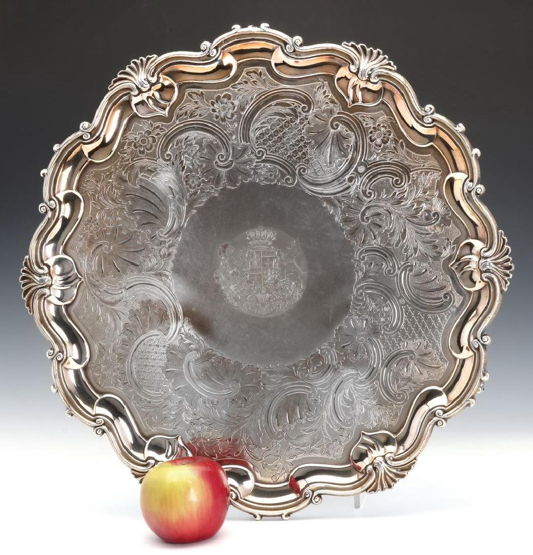 A NICE CIRCA 1800 OLD SHEFFIELD PLATE LARGE SALVER - 2
