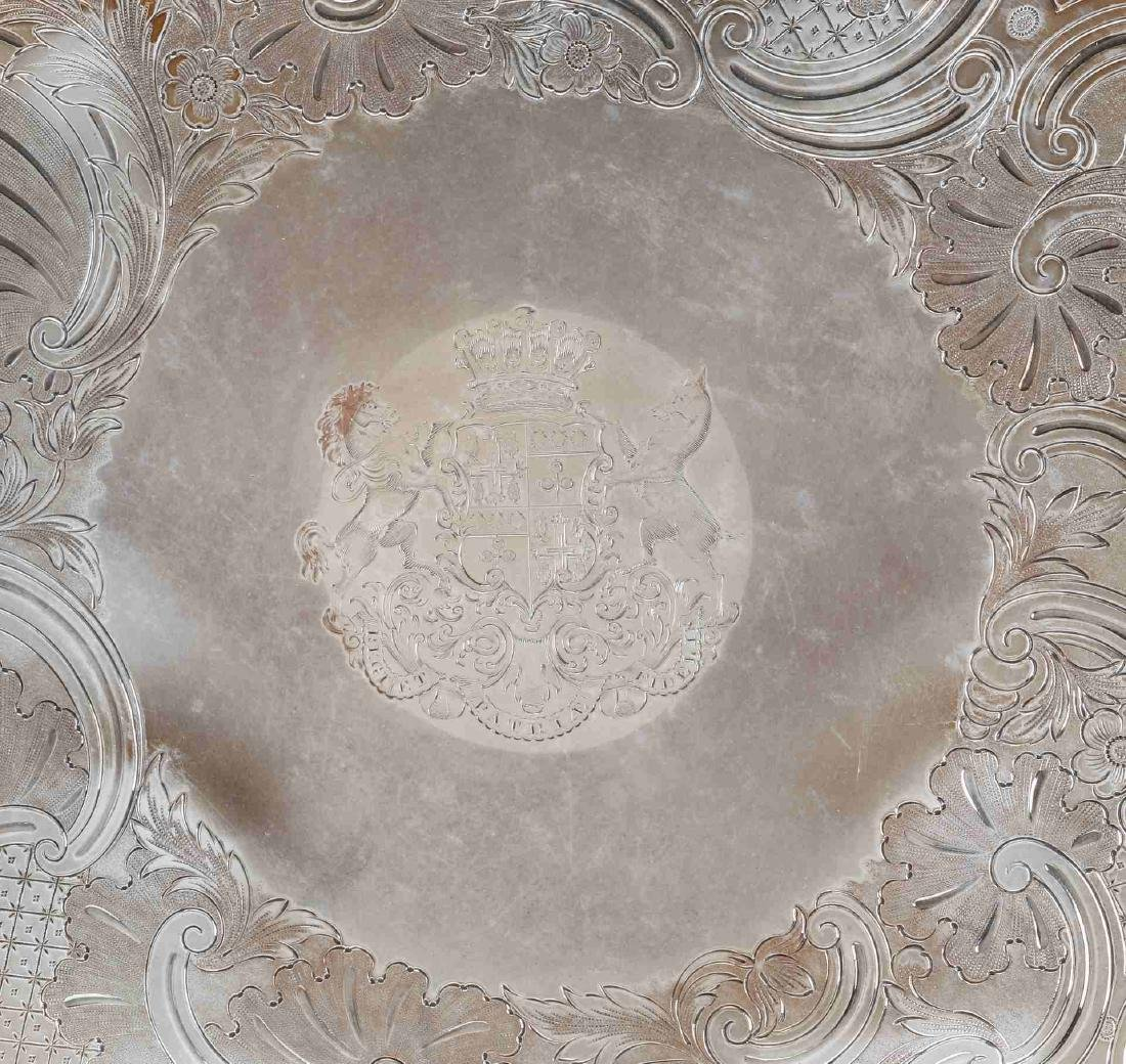 A NICE CIRCA 1800 OLD SHEFFIELD PLATE LARGE SALVER - 3