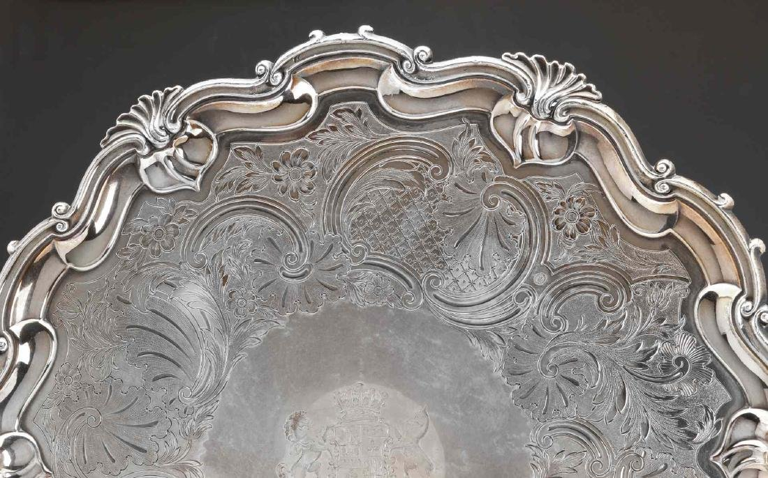 A NICE CIRCA 1800 OLD SHEFFIELD PLATE LARGE SALVER - 4