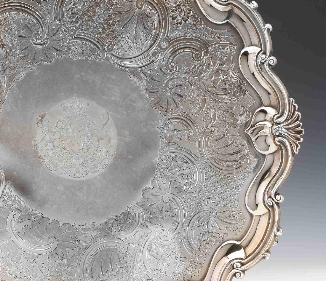 A NICE CIRCA 1800 OLD SHEFFIELD PLATE LARGE SALVER - 5