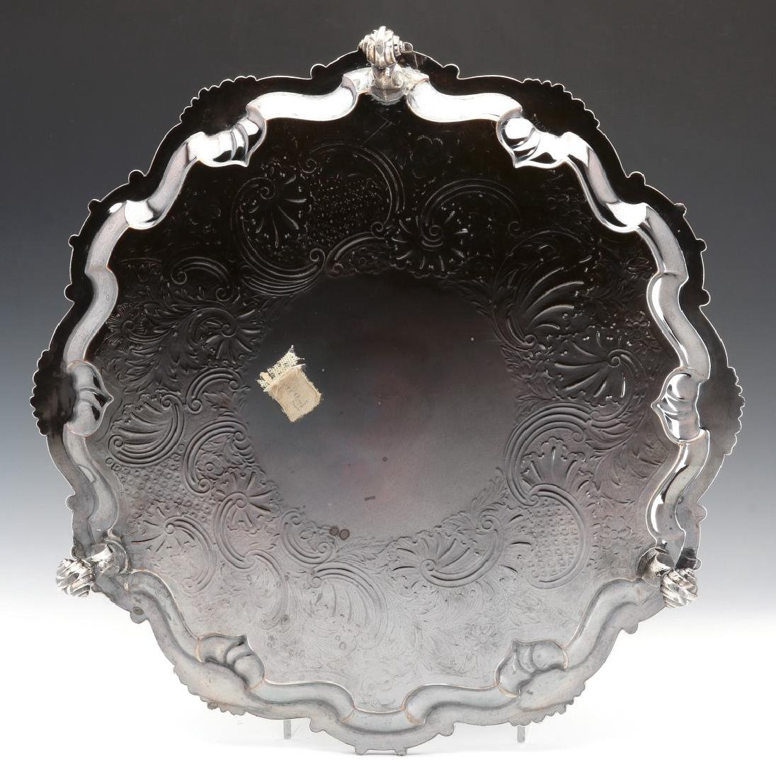 A NICE CIRCA 1800 OLD SHEFFIELD PLATE LARGE SALVER - 8