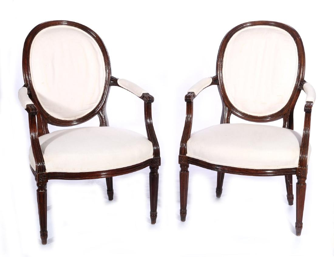 THREE EARLY 20TH C. FRENCH ARM AND SIDE CHAIRS