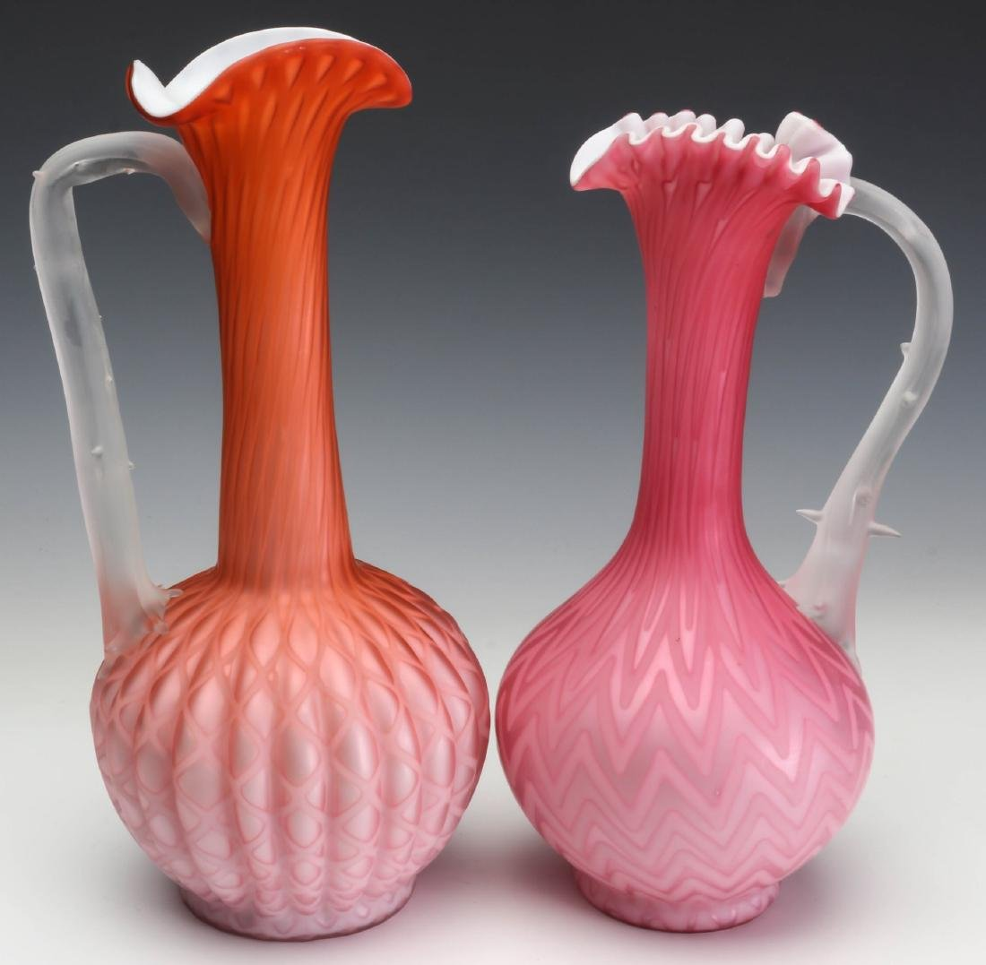 TWO TALL SLENDER MOTHER OF PEARL GLASS EWERS - 8