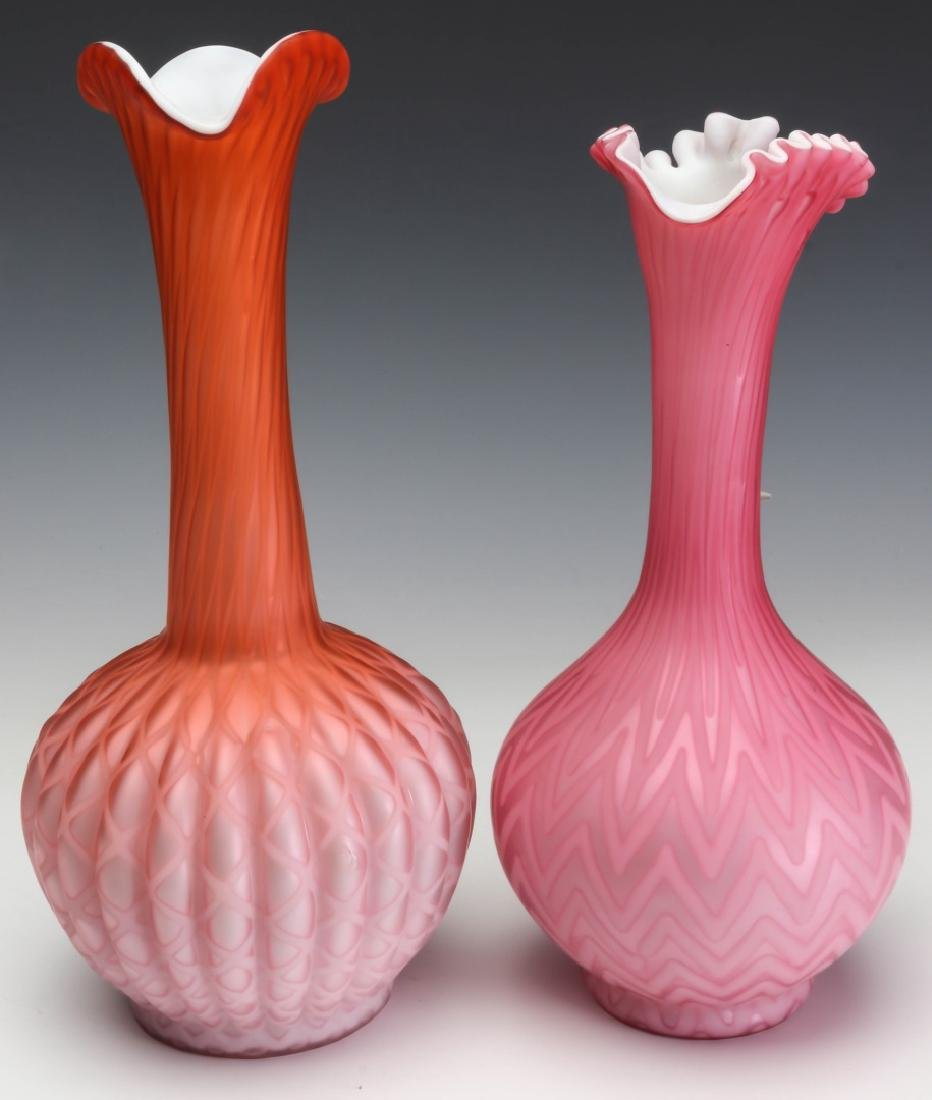 TWO TALL SLENDER MOTHER OF PEARL GLASS EWERS - 9
