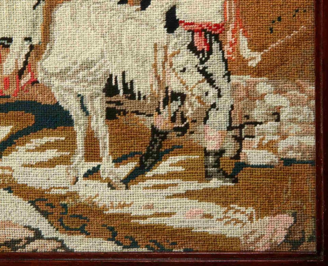 A 19TH CENTURY NEEDLEPOINT TABLE SCREEN - 6