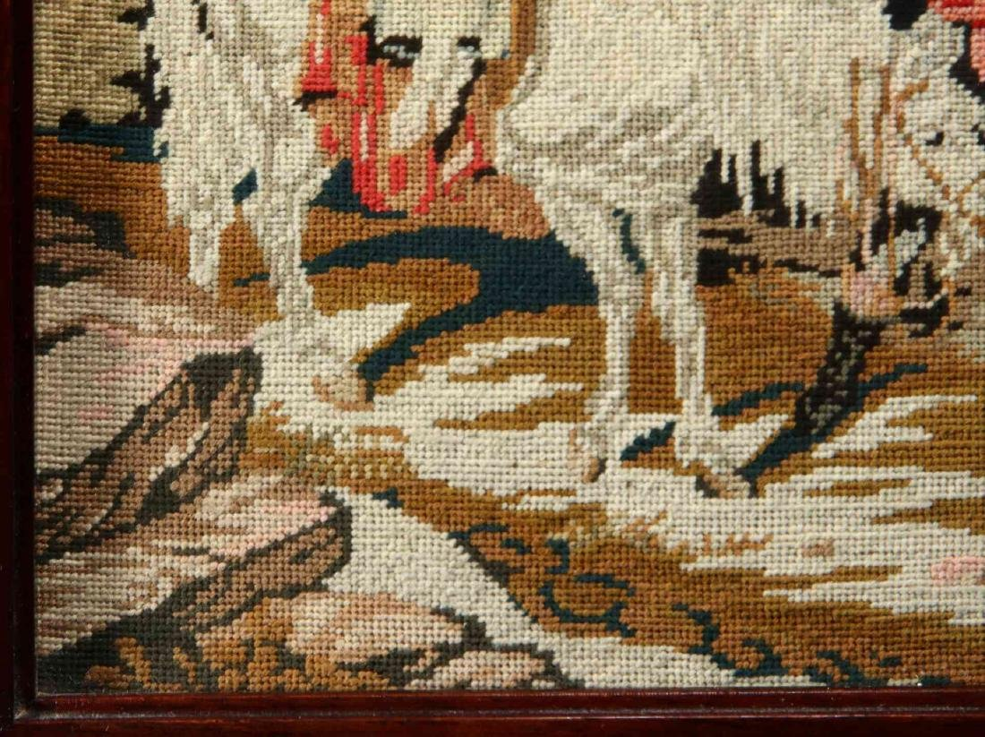 A 19TH CENTURY NEEDLEPOINT TABLE SCREEN - 7