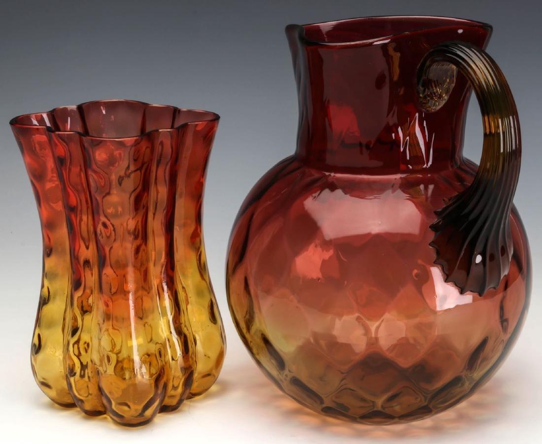TWO 19TH CENTURY AMBERINA ART GLASS ARTICLES