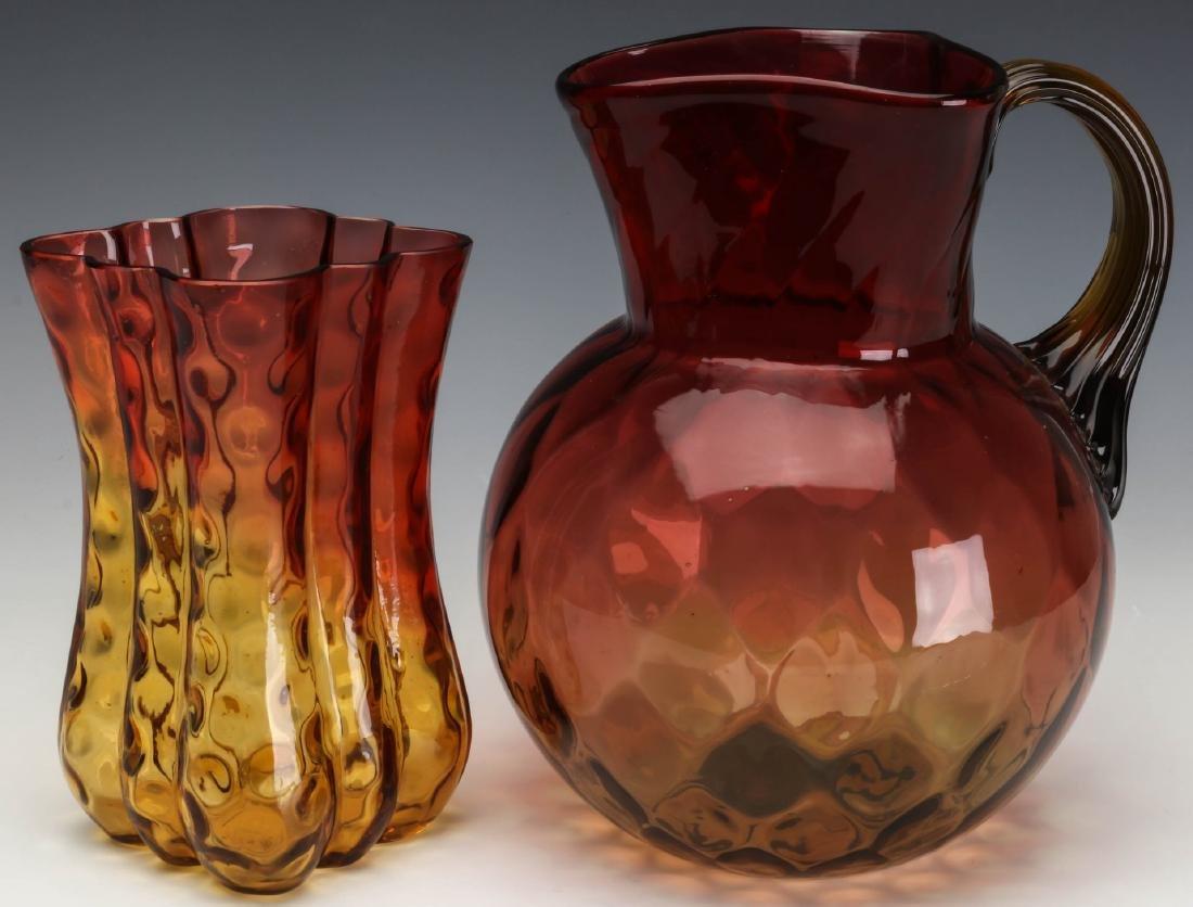 TWO 19TH CENTURY AMBERINA ART GLASS ARTICLES - 6
