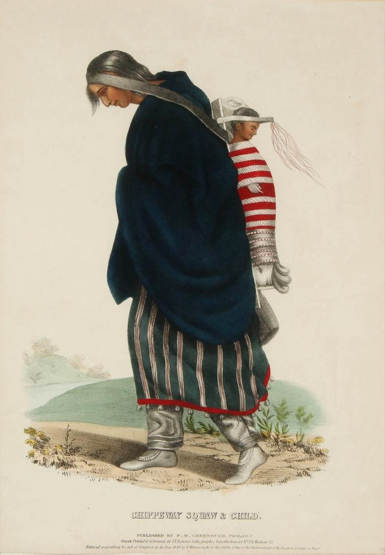 MCKENNEY HALL 'CHIPPEWAY SQUAW' HAND COLORED LITHO