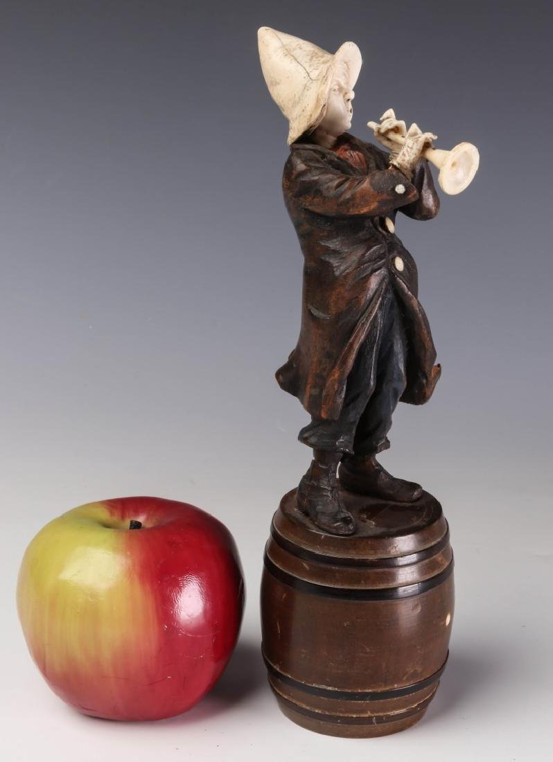 A 19TH C. CONTINENTAL CARVED WOOD AND BONE FIGURE - 2