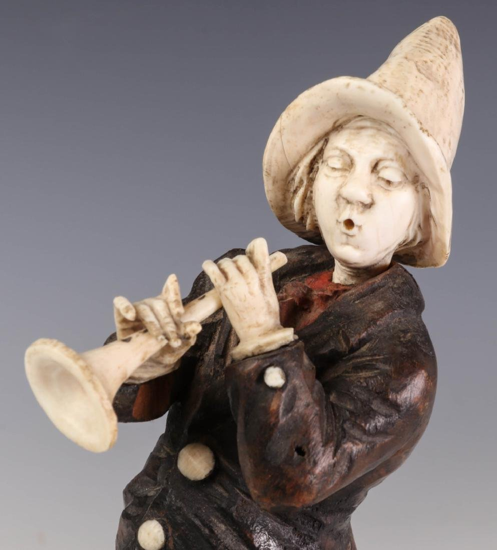 A 19TH C. CONTINENTAL CARVED WOOD AND BONE FIGURE - 5