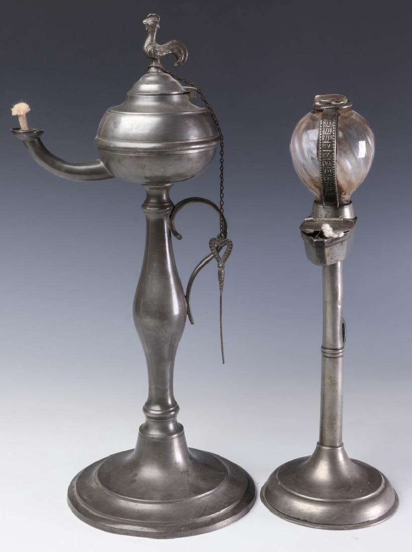 TWO LATE 19TH CENTURY PEWTER FLUID  LAMPS