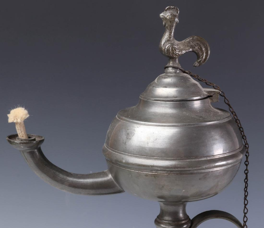 TWO LATE 19TH CENTURY PEWTER FLUID  LAMPS - 2