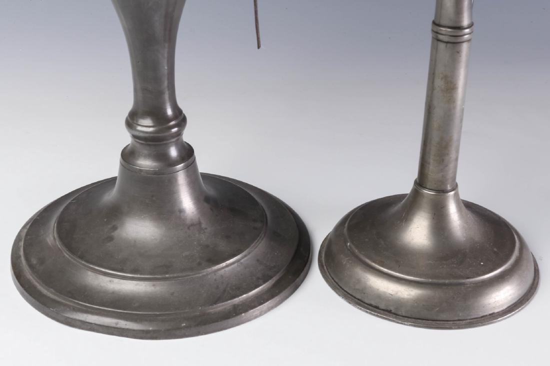 TWO LATE 19TH CENTURY PEWTER FLUID  LAMPS - 4