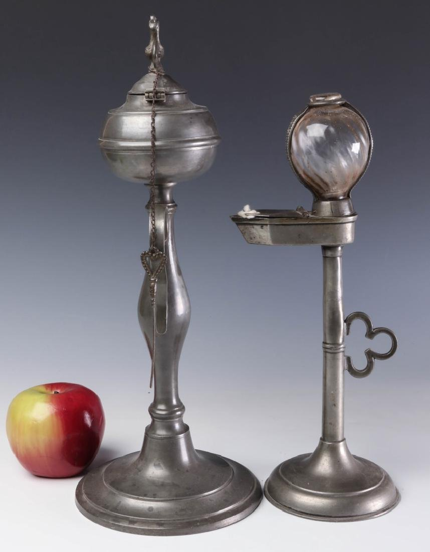 TWO LATE 19TH CENTURY PEWTER FLUID  LAMPS - 6
