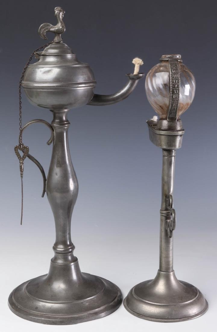 TWO LATE 19TH CENTURY PEWTER FLUID  LAMPS - 7