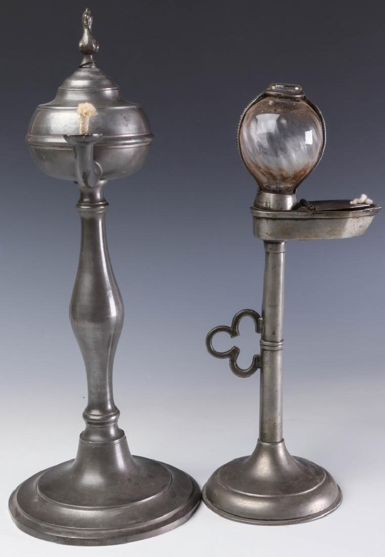 TWO LATE 19TH CENTURY PEWTER FLUID  LAMPS - 8