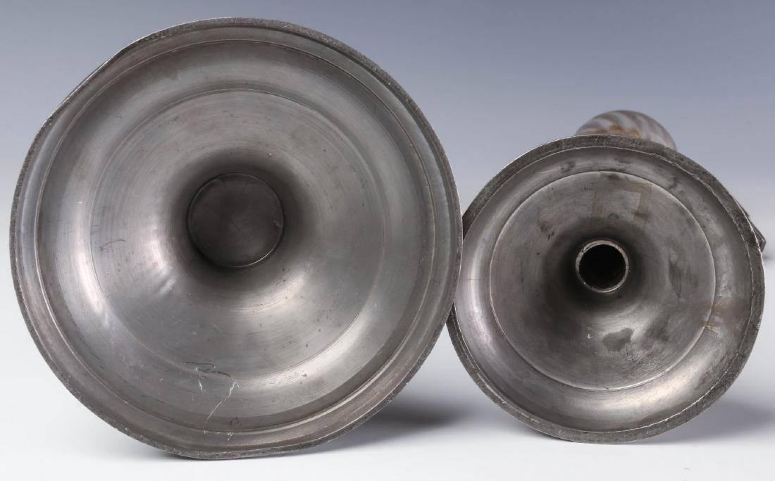 TWO LATE 19TH CENTURY PEWTER FLUID  LAMPS - 9