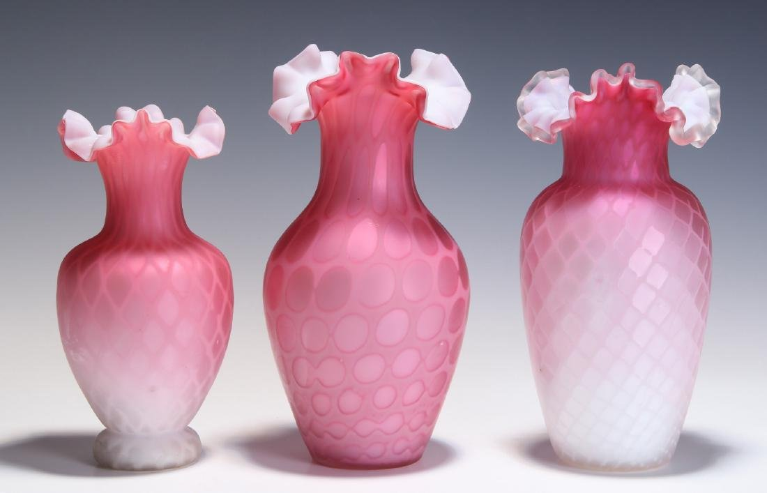 VICTORIAN ART GLASS RED MOTHER OF PEARL VASES
