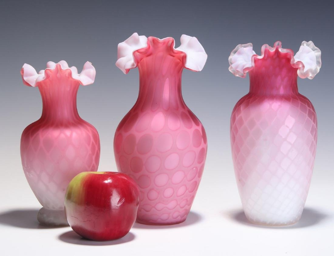VICTORIAN ART GLASS RED MOTHER OF PEARL VASES - 2