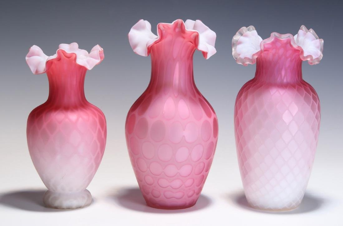VICTORIAN ART GLASS RED MOTHER OF PEARL VASES - 4